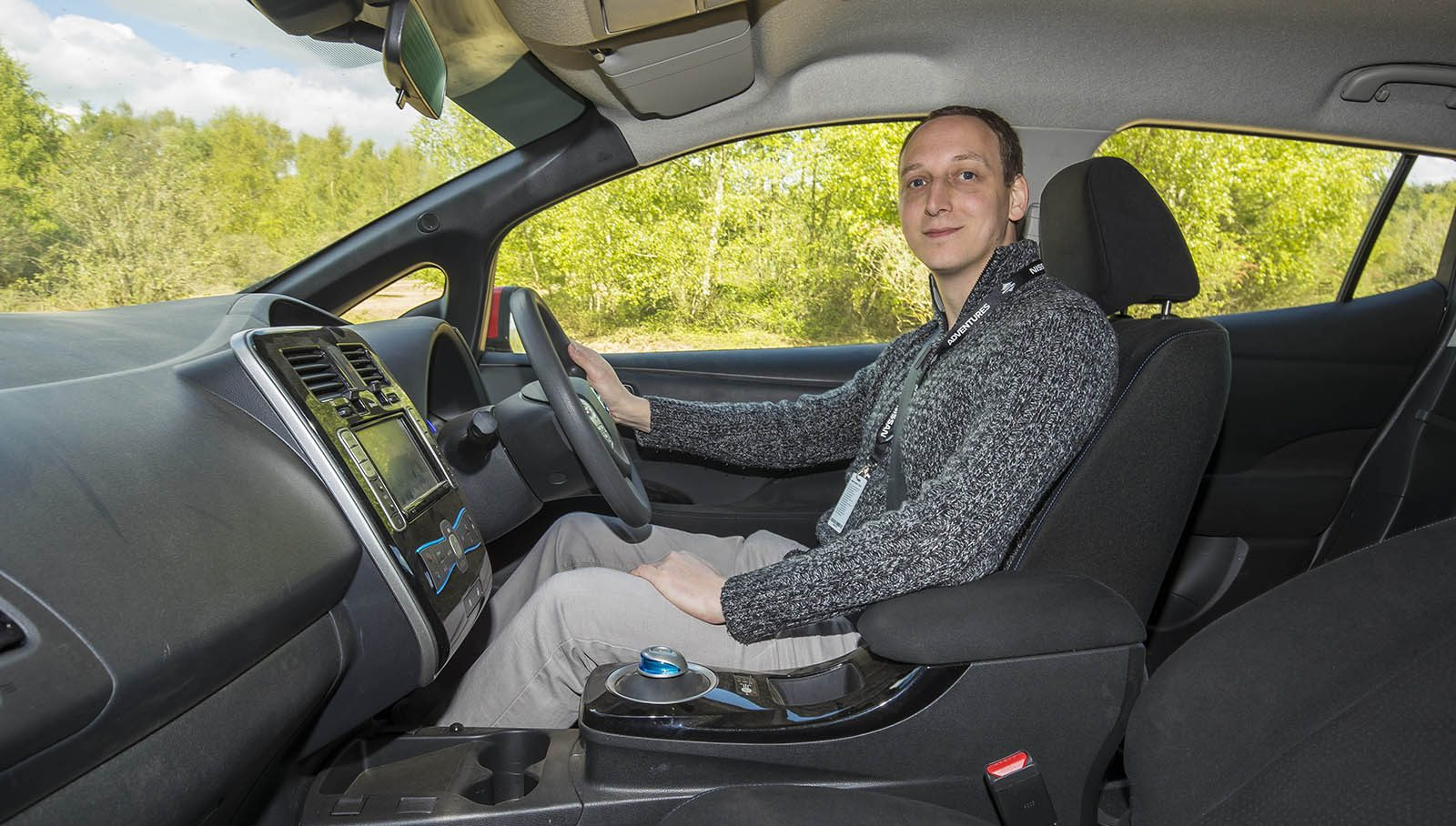 Jonathan Musk in Plug-in Adventures' Nissan Leaf AT-EV
